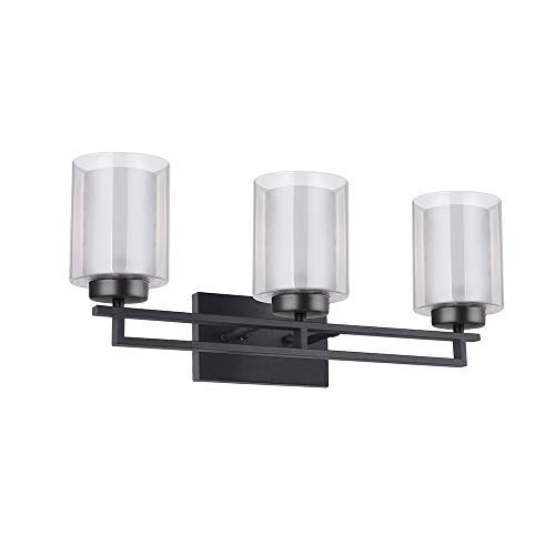 TENGXIN 3 Lights Wall Light,Bathroom Vanity Lighting with Glass Shade in Oil Rubbed Bronze,Bathroom Light Fixtures,Bathroom Wall Lamp,Mirror Front Lamp,Interior Wall Lamp,UL Listed (3 Lights)