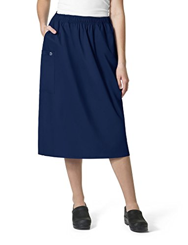 Skirt Scrub (WonderWink Women's Size Wonderwork Plus Pull-on Cargo Scrub Skirt, Navy, 3X-Large)