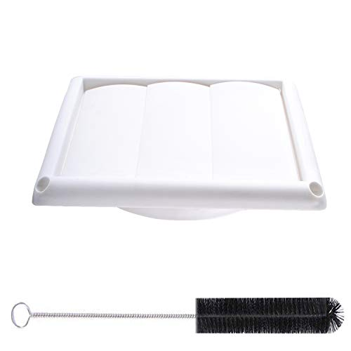 Dryer Vent Cover 6'' - Stopping Birds Nesting In Dryer Vents and Bathroom Exhaust Vents Pipe,White Louvered Outdoor Dryer Vent Cover & 17.5'' Dryer Vent Cleaning ()