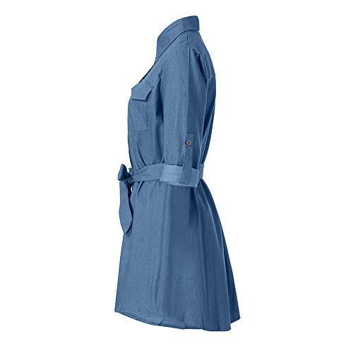 primavera paolian moda casual manica striscia con sexy da blu inverno chiaro lunga mini da cowboy lunga Manica scollo elegante av 2019 donna autunno 46pgn1Hxwq
