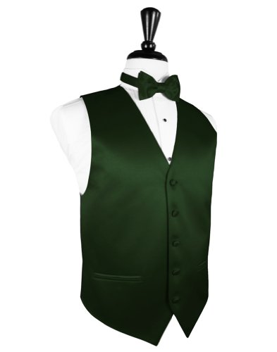 Cardi Men's Solid Satin Tuxedo Vest & Coordinating Bow Tie, XXXX-Large Hunter - Cardi Solid Satin