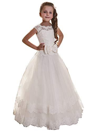 Edooli Fancy Lace Long Dress for Girls First Communion Dresses Size 12 Ivory]()