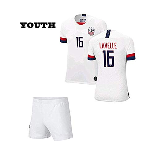 New Lavelle #16 2019-20 USA Team Home Soccer Jersey & Shorts for Kids/Youths White (Size 26 (9-10 Yrs Old Approx.)) (Childrens Usa Soccer Jersey)