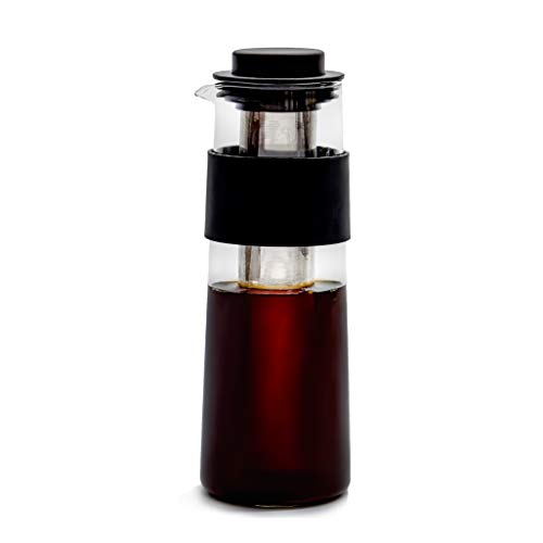 Easy Concept Cold Brew Coffee Maker, Iced Coffee Maker and Tea Infuser with Pouring Spout, Dishwasher Safe Carafe Glass, Laser Cut Stainless Steel Filter and Anti-Slip Silicone Grip, BPA-Free, 32 oz