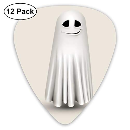 - Funny Halloween Grinning White Ghost Bendy Ultra Thin 0.46 Med 0.73 Thick 0.96mm 4 Pieces Each Base Prime Plastic Jazz Mandolin Bass Ukelele Guitar Pick Plectrum Display