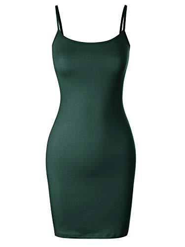 Design by Olivia Casual Sleeveless Adjustable Spaghetti Strap Bodycon Cami Mini Dress Deep Jungle L
