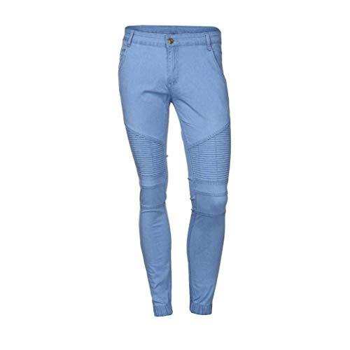 Blua Chern Da Skinny Fit Jeans Con Battercake Uomo Comodo Stretch Slim Destroyed Casual Jogging Nero Summer Fori Pantaloni Pants qXU865w