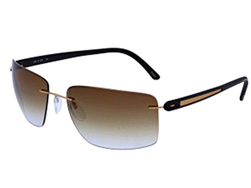 3639490bd4f Silhouette Titanium Sunglasses Carbon T1 Shiny Gold Brown Titanium Sun  8686-6236