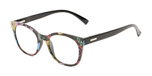 Readers.com Reading Glasses: The True Reader, Plastic Retro Square Style for Women - Black/Multi Floral, 1.50 (Sonnenbrille Reader)