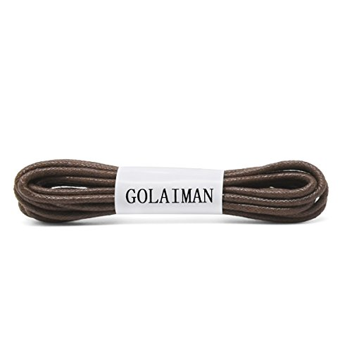 GOLAIMAN Waxed Dress Shoe Laces - Round Oxfords Shoelaces Leather Shoe Lace For Men Women - 54inch DK Brown