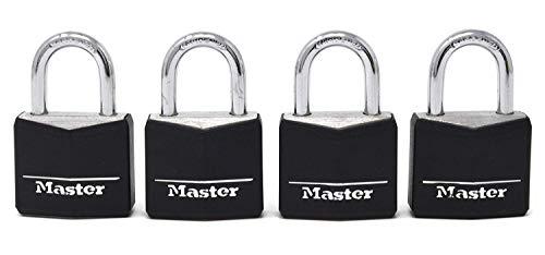 Master Lock Padlock, Covered Aluminum Lock, 1-3/16 in. Wide, Black, 131Q (Pack of 4-Keyed Alike) (2-Pack)