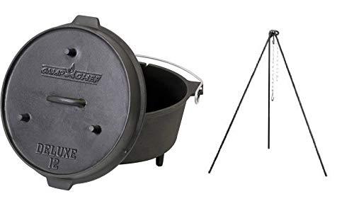 Camp Chef Pre-Seasoned 9-1/3-Quart Cast Iron Dutch Oven with