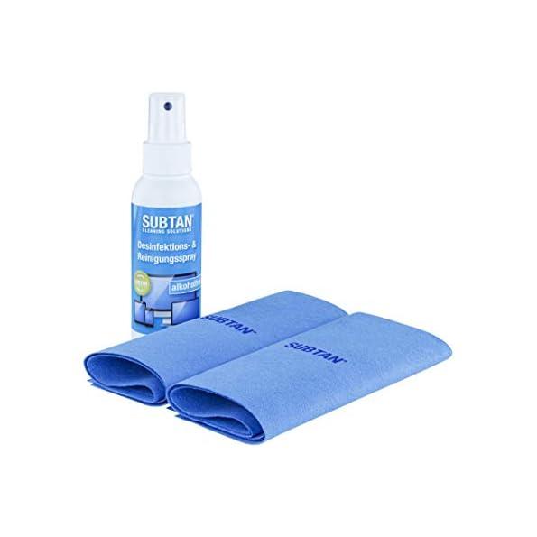 SUBTAN-blue-Set-100-ml-Desinfektions-und-Reinigungs-Spray-zum-Desinfizieren-ohne-Alkohol-und-Reinigen-von-Smartphone-Tablet-Laptop-und-Touchscreen-2-x-Premium-Microfaser-Tuch-30-x-38-cm