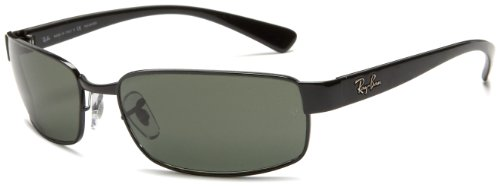 Ray-Ban RB3364 Rectangular Metal Sunglasses, Black/Polarized Green, 62 ()