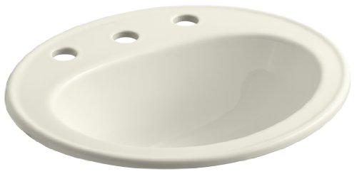 KOHLER K-2196-8-96 Pennington Self-Rimming Bathroom Sink, Biscuit