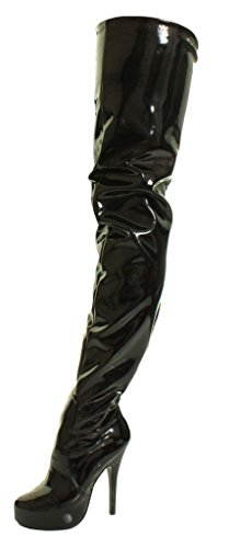 Thigh Pvc High Stretch Over Crotch Shiny Knee The Platform Concealed Black Fetish Boots Stiletto Sexy Heel fwqTxCaRE