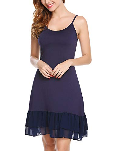 Zeagoo Women's Adjustable Spaghetti Strap Chiffon Ruffle Camisole Dress Extender, Navy Blue, Medium (Lace Chiffon Skirt)
