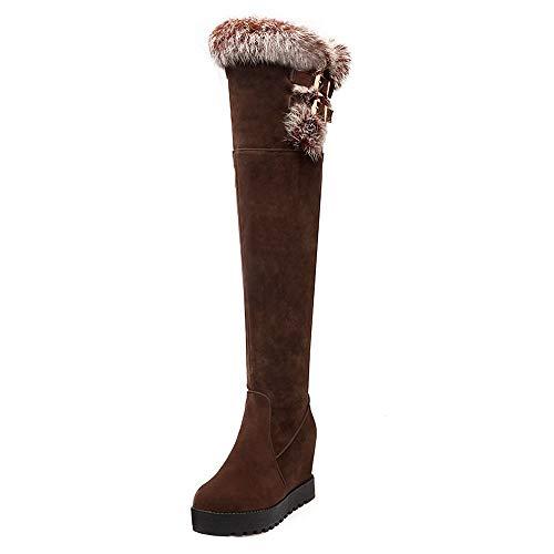 The Brown Taoffen Boots Women Knee Heel Wedge Over P74PqO1