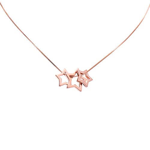 Paialco 925 Sterling Silver Separated Sliding Stars Pendant Necklace, Rose Gold Plating