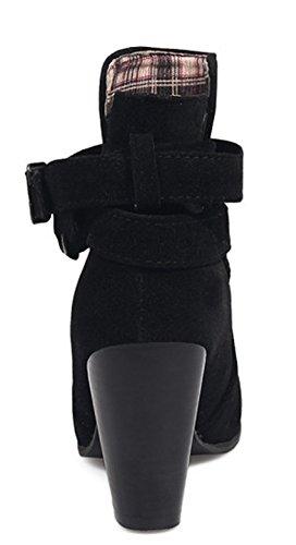 Aisun Women's Casual Faux Suede High Chunky Heels Buckle Booties Black 5PdhBwqQ