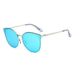 DONNA Trendy Oversized Mirrored Sunglasses Cat Eye Frame Circle Lens Hippie Hipster Style D09(Blue)