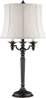 "Lite Source CF41257 Katarina Table Lamp, 16.0"" x 16.0"" x 33.0"", Aged Black Finish/Off-White Fabric Shade"
