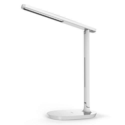 LED Desk Lamp - Dimmable Table Lamp with Eye-Caring Ideal for Reading, Studying, Working, Foldable Office Task Light, 3 Color Modes with 5 Brightness Levels, Touch Control, Memory Function, White