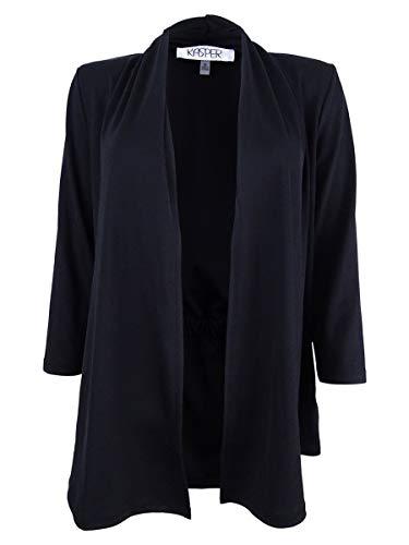 Kasper Women's 3/4 Sleeve Cardigan with Back Waist Detail, Black, L from Kasper