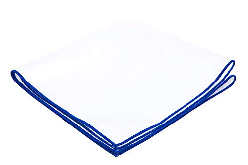 - Flairs New York Gentleman's Essentials Weekend Casual White Pocket Square (White / Royal Blue)