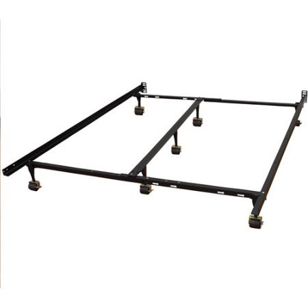 Modern Sleep Universal Heavy-Duty Adjustable Metal Bed Frame with Double Rail Center Support Bar, Fits All Mattress - Rails Fits