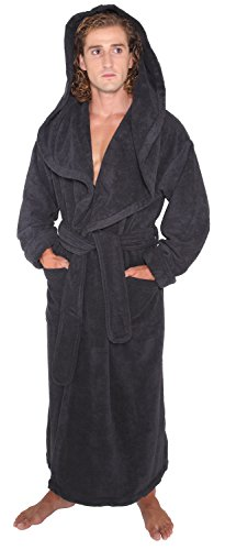 (Arus Men's Monk Robe Style Full Length Long Hooded Turkish Terry Cloth Bathrobe, M, Black)