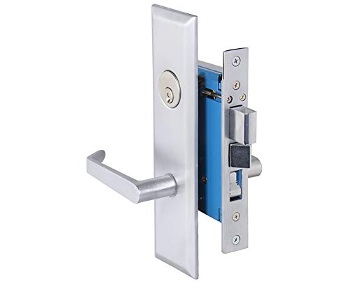 - Em-D-Kay (Like Marks Metro 116A/26D) 7114LDC Satin Chrome 26D Entrance Left Handed (in-Swing) Thru-Bolted Mortise Screwless Lever Handle Lockset with Angled Lever Escutcheon Plates and 2-1/2