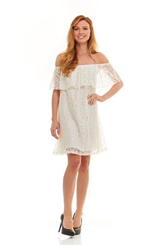 No Comment Juniors Womens Off the Shoulder Size Lacy Mid Length Dress with Lace Flounce Top Gardenia White Size (Fancy Dress Store Near Me)