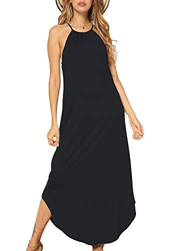 Women Casual Flowy Loose Plain Halter Sleeveless Summer Maxi Long Dress Black L