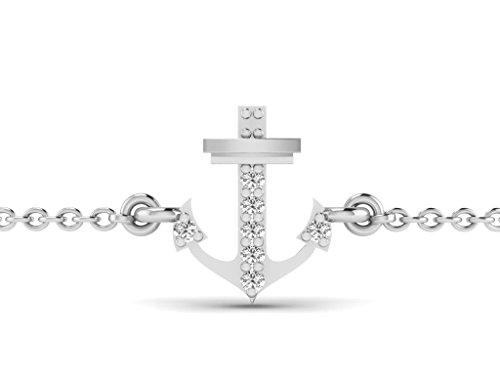 Or Blanc 14 ct Bracelet Diamant en forme de Ancre, 0.02 Ct Diamant, GH-SI, 1.47 grammes.