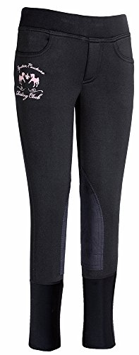 (Equine Couture Girl's Riding Club Pull-On Breech, Black, 8)