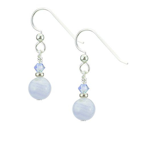 Blue Lace Agate Gemstone Earrings with Sterling Silver and Swarovski (Swarovski Agate Earrings)