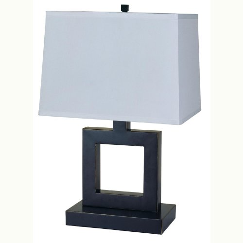 Ore International 8137B 22-Inch 100-Watt 3-Way Metal Table Lamp with Fabric Shade, Nickel