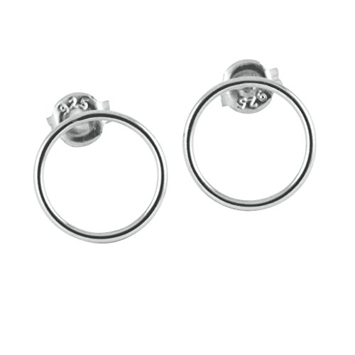 apop nyc 925 Sterling Silver Dainty Plain Open Circle Stud Earrings (Earrings Sterling Open Silver Circle)