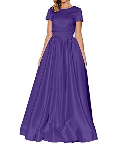 Satin Charmant Damen Kurzarm Ballkleider Brautmutterkleider Elegant Abendkleider Lang Dunkel Lila Weiss q1trx17