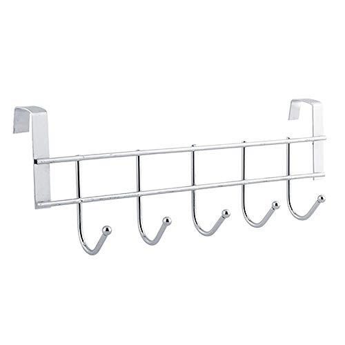 (GONGting Gourmet Kitchen Tools Utensil Holder Hook 5 Pack Set with Hanging Rack - Organize Pots Pans Gadgets On Wall Mounted Hanger Bar Rail - Under Cabinet Shelf Coffee Mug Cup Organizer (Silver))