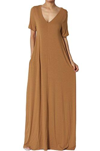 TheMogan Women's Casual V-Neck Short Sleeve Pocket Long Maxi Dress Coffee M