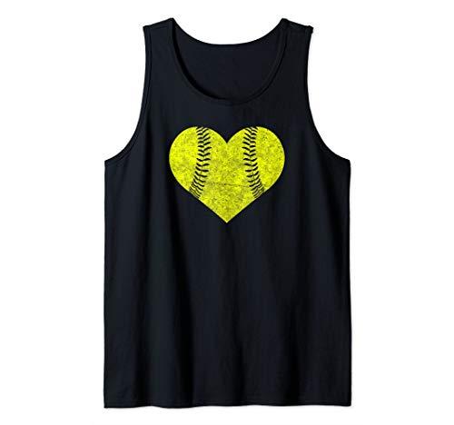 (Softball Heart Shirt Mom Matching Team Gift Tank Top)