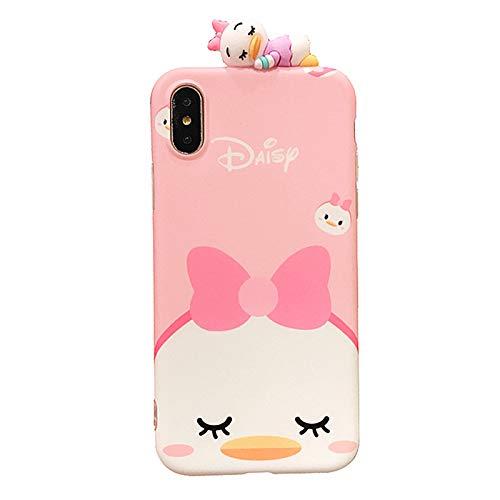 Ultra Slim Soft TPU Pink Daisy Duck Doll Case for iPhone X XS iPhoneX Shockproof Finger Love Bow Tie Walt Disney Cartoon Cute Chic Lovely High Fashion Stylish Cool Girls Women Teens Kids Daughter