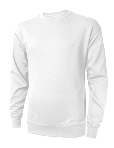 - Hat and Beyond Mens Fleece Crewneck Sweatshirt Casual Brushed Solid Sweater(X-Large, 1HC0019_White)