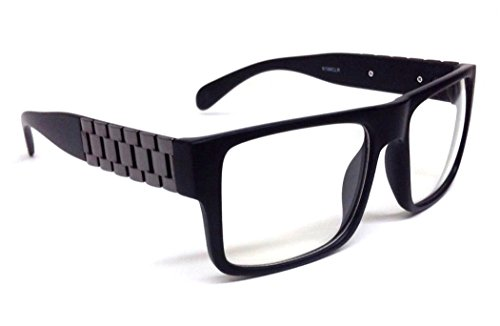 Black & Gun Metal Watch Band Wayfarer Sunglasses Clear - Biggie Sunglasses