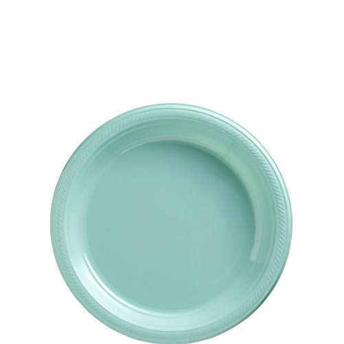 Amscan Robin's Egg Blue Plastic Plate Big Party Pack, 50 Ct.