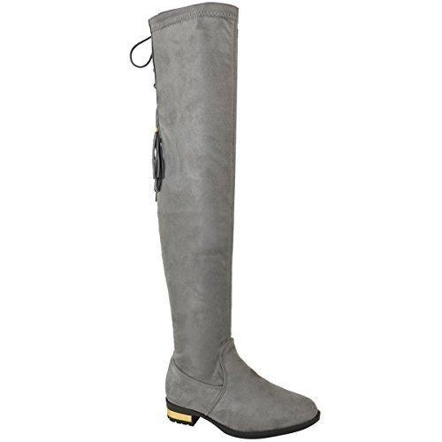 Fashion Thirsty Mujer sobre Rodilla Botas Planas Ante Artificial por Encima De La Rodilla Borla Zapatos Talla - Negro Ante Artificial, 38