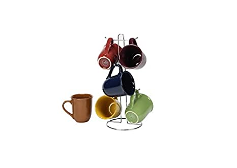 5715c658c72 Coffee Cup Set by GIBSON Coffee Mug Set Stoneware Coffee Cups with Metal  Rack Wire Holder Assorted Colors 7 pcs set, Cafe Amaretto