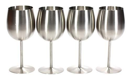 (Trendiware 13 oz Stainless Steel Stemmed Wine Glasses - 4 piece)